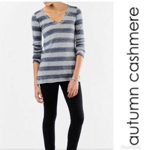 💕Autumn Cashmere Striped V Neck Sweater - Small